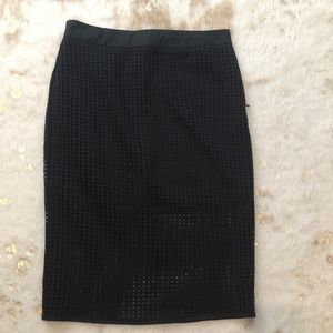 Black Pencil Skirt with Overlay